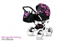 BabyMove Margarita White Bouquets Peony on Black