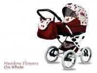 BabyMove Margarita White Meadow Flowers on White