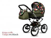 BabyMove Margarita Chrome ROSES WITH TULIPS ON BLACK